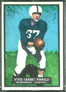 Babe Parilli 1951 Topps Magic football card