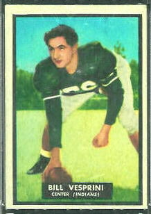 Bill Vesprini 1951 Topps Magic football card