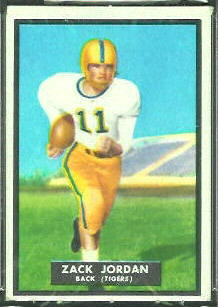 Zack Jordan 1951 Topps Magic football card