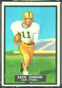 Zack Jordan 1951 Topps Magic football card