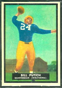 Bill Putich 1951 Topps Magic football card