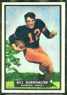 Bill Burkhalter 1951 Topps Magic football card
