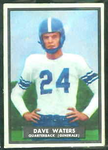 Dave Waters 1951 Topps Magic football card