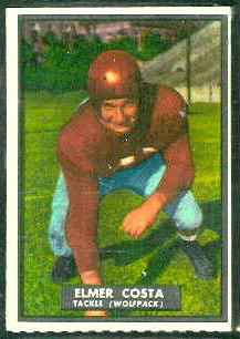Elmer Costa 1951 Topps Magic football card