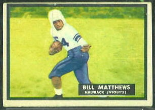 Bill Matthews 1951 Topps Magic football card