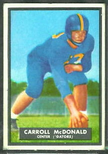 Carroll McDonald 1951 Topps Magic football card