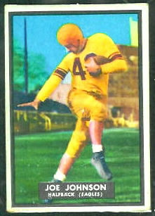 Joe Johnson 1951 Topps Magic football card