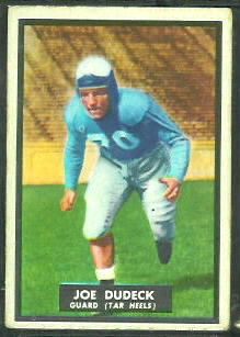 Joe Dudeck 1951 Topps Magic football card