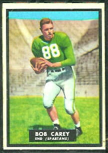 Bob Carey 1951 Topps Magic football card