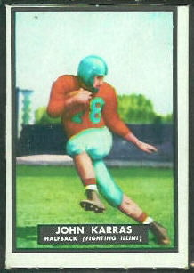 John Karras 1951 Topps Magic football card