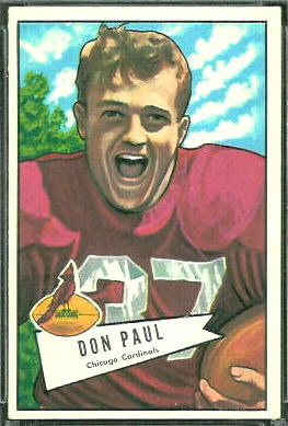 Don Paul 1952 Bowman Large football card
