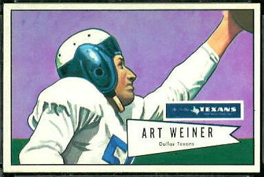 Art Weiner 1952 Bowman Large football card