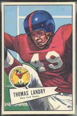 Tom Landry 1952 Bowman Large football card