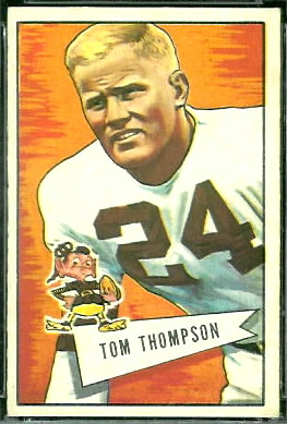 Tommy Thompson 1952 Bowman Large football card
