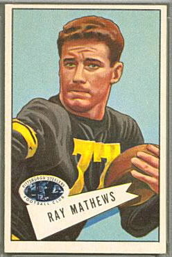 Ray Mathews 1952 Bowman Large football card