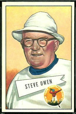 Steve Owen 1952 Bowman Large football card
