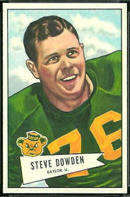 Steve Dowden 1952 Bowman Large football card