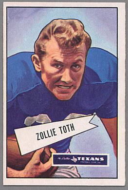Zollie Toth 1952 Bowman Large football card