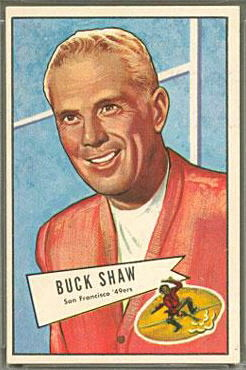 Buck Shaw 1952 Bowman Large football card