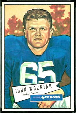 John Wozniak 1952 Bowman Large football card