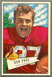 Don Paul 1952 Bowman Small football card