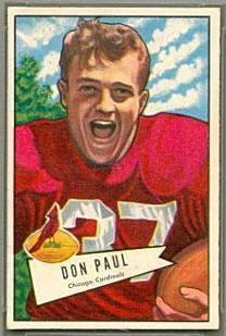 Don Paul 1952 Bowman Small football card