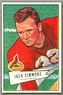 Jack Simmons 1952 Bowman Small football card