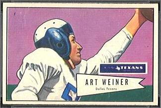 Art Weiner 1952 Bowman Small football card