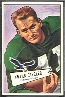 Frank Ziegler 1952 Bowman Small football card