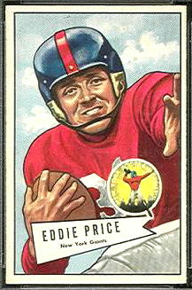 Eddie Price 1952 Bowman Small football card