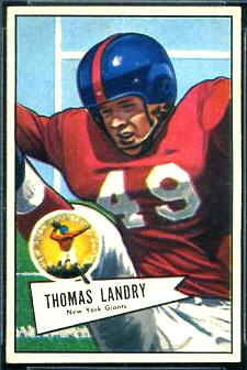 Tom Landry 1952 Bowman Small football card