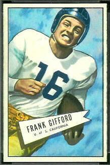 Frank Gifford 1952 Bowman Small football card