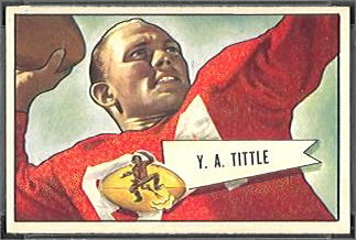 Y.A. Tittle 1952 Bowman Small football card