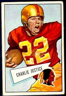 Charlie Justice 1952 Bowman Small football card