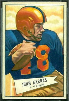 John Karras 1952 Bowman Small football card