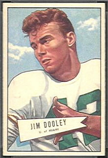 Jim Dooley 1952 Bowman Small football card