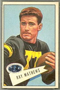 Ray Mathews 1952 Bowman Small football card
