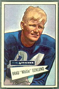 Brad Ecklund 1952 Bowman Small football card