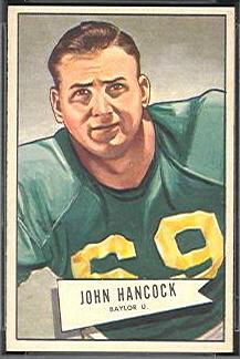 John Lee Hancock 1952 Bowman Small football card