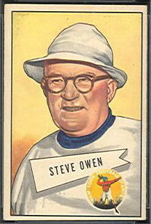Steve Owen 1952 Bowman Small football card