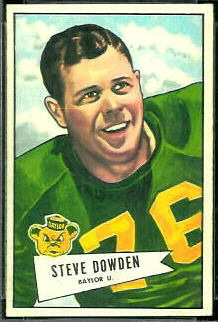 Steve Dowden 1952 Bowman Small football card