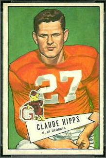 Claude Hipps 1952 Bowman Small football card