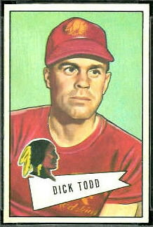 Dick Todd 1952 Bowman Small football card