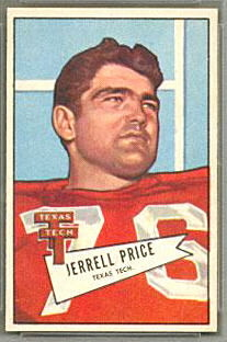 Jerrell Price 1952 Bowman Small football card