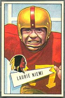 Laurie Niemi 1952 Bowman Small football card