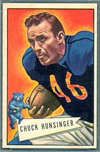 Chuck Hunsinger 1952 Bowman Small football card