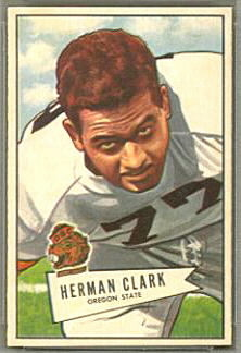 Herman Clark 1952 Bowman Small football card