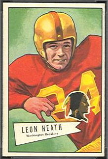 Leon Heath 1952 Bowman Small football card