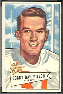 Bobby Dillon 1952 Bowman Small football card