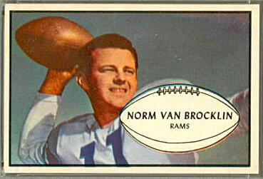 Norm Van Brocklin 1953 Bowman football card
